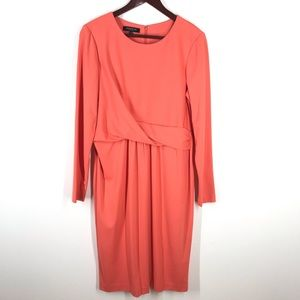 LAFAYETTE 148 Peach Dress Soft Midi Long Sleeve 12